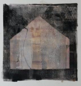 zonder titel, gemengde technieken, 36 x 36 cm, 2016, door Andries de Jong