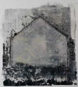 zonder titel, gemengde technieken, 37 x 41 cm, 2016, door Andries de Jong