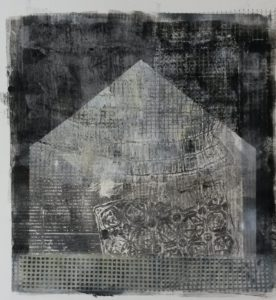 zonder titel, gemengde technieken, 34 x 36 cm, 2016, door Andries de Jong
