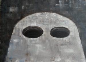 grote gaten , acryl op canvasboard, 60 x 50 cm, 2000, door Andries de Jong
