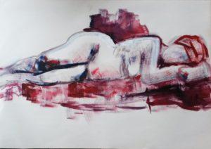 liggend naakt, acryl op papier, 100 x 70 cm, 2013, Andries de Jong
