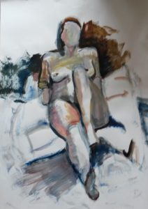 zittend naakt, acryl op papier, 70 x 100 cm, 2013, Andries de Jong