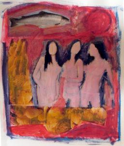 drie gratiën 2, gemengde technieken, 48 x 58 cm, 2007, Andries de Jong