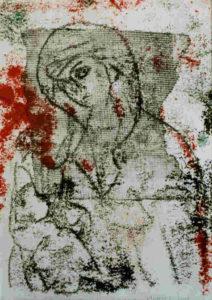 Maria met kind, monotype, 19 x 27 cm, 2001, Andries de Jong