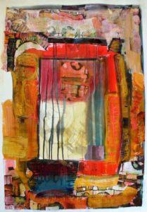 abstract, gemengde technieken op papier, 58 x 83 cm, 2007, Andries de Jong