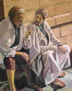 gesprek, acryl op doek, 80 x 100 cm, 2004, Andries de Jong