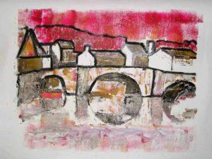 brug met rood, monotype en olieverf, 100 x 70 cm, 2005, Andries de Jong