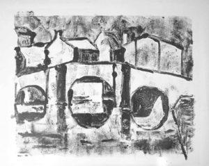 brug zwart wit, monotype, 100 x 70 cm, 2005, Andries de Jong