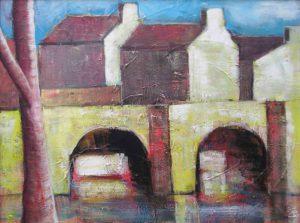 brug met boom 1, acryl op canvasboard, 80 x 60 cm, 2006, Andries de Jong