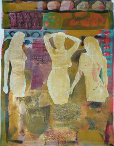 drie gratiën, gemengde technieken, 40 x 54 cm, 2007, Andries de Jong