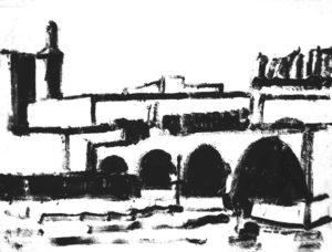 brug van Avignon, 78 x 62 cm, monotype, 2005, Andries de Jong