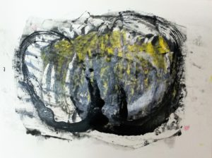 abstracte monotype december 2016 door Andries de Jong
